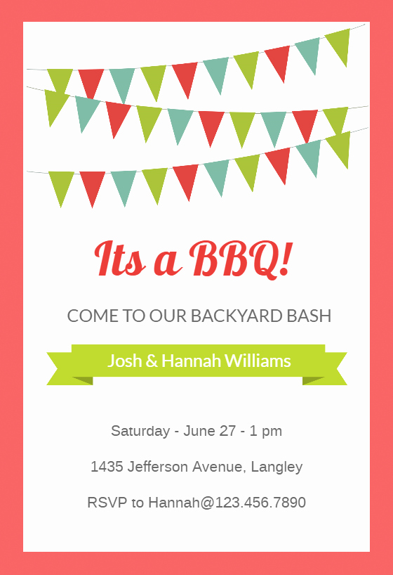 Bbq Invitation Template Word Fresh Red Pennants Bbq Party Invitation Template Free