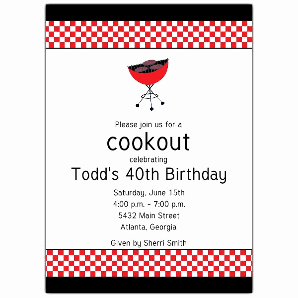 Bbq Invitation Wording Funny Best Of Cookout Grill Birthday Invitations
