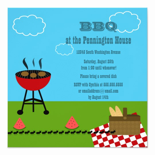 Bbq Invitation Wording Funny Elegant Fun Summer Bbq Barbeque Grill Party Invitation