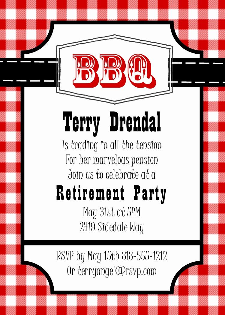 Bbq Invitation Wording Funny Fresh Retirement Party Invitations Custom Designed New for
