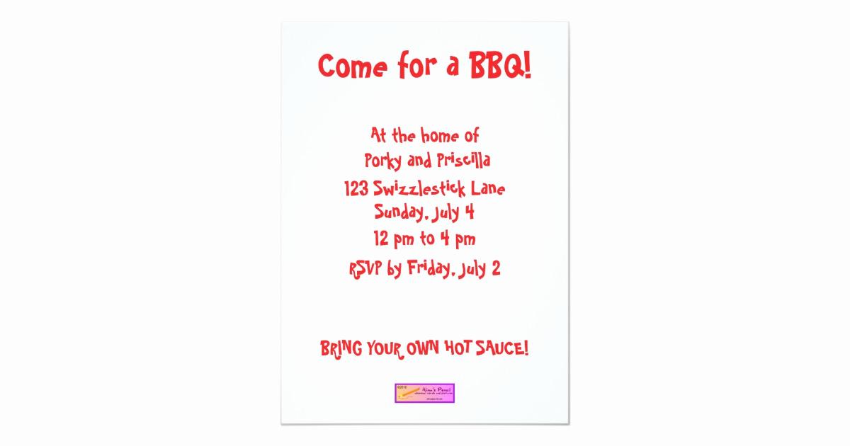 Bbq Invitation Wording Funny Fresh Scared Cartoon Pig Funny Bbq Party Invitations