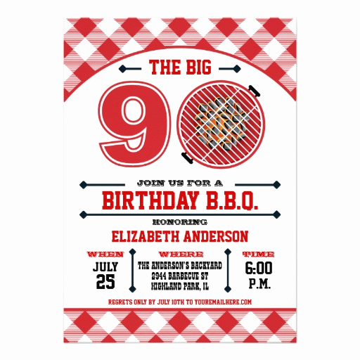 Bbq Invitation Wording Funny Unique 90th Birthday Barbecue Invitation