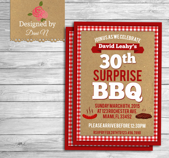 Bbq Invitation Wording Funny Unique Barbecue Birthday Invitation Bbq Surprise 30th Birthday