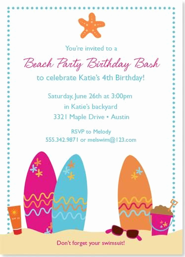 Beach Party Invitation Ideas Beautiful 17 Best Ideas About Beach Party Invitations On Pinterest