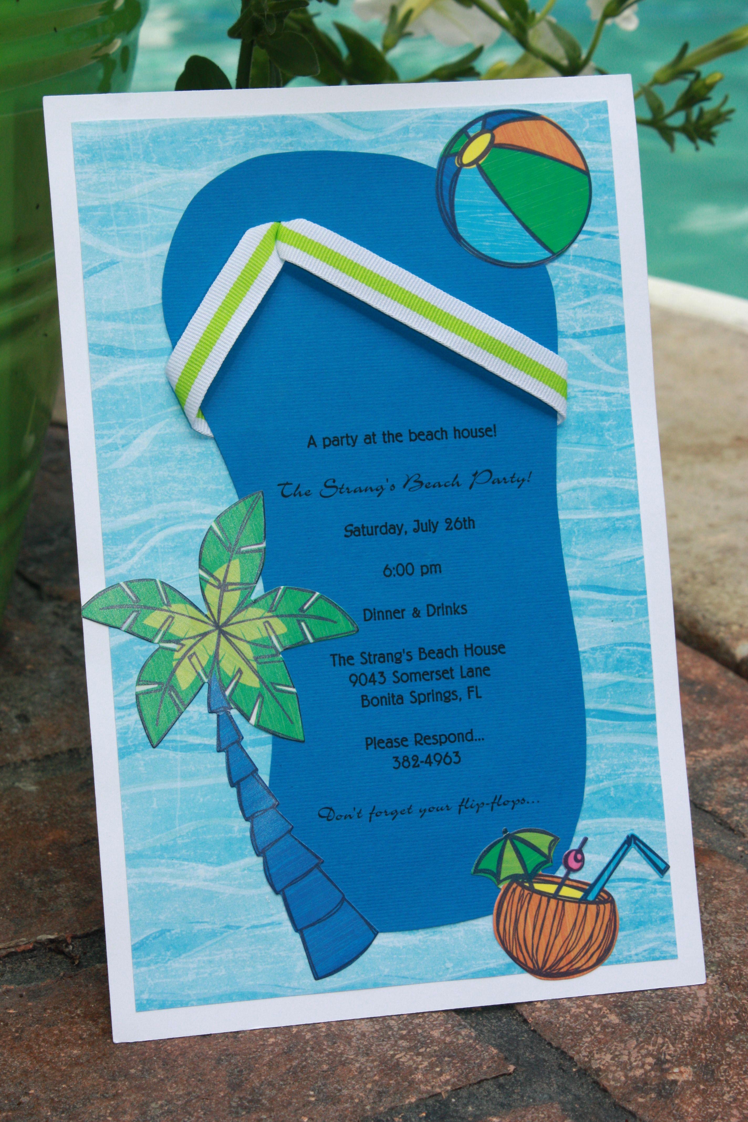 Beach Party Invitation Ideas Beautiful Homemade Beach themed Bridal Shower Invitations