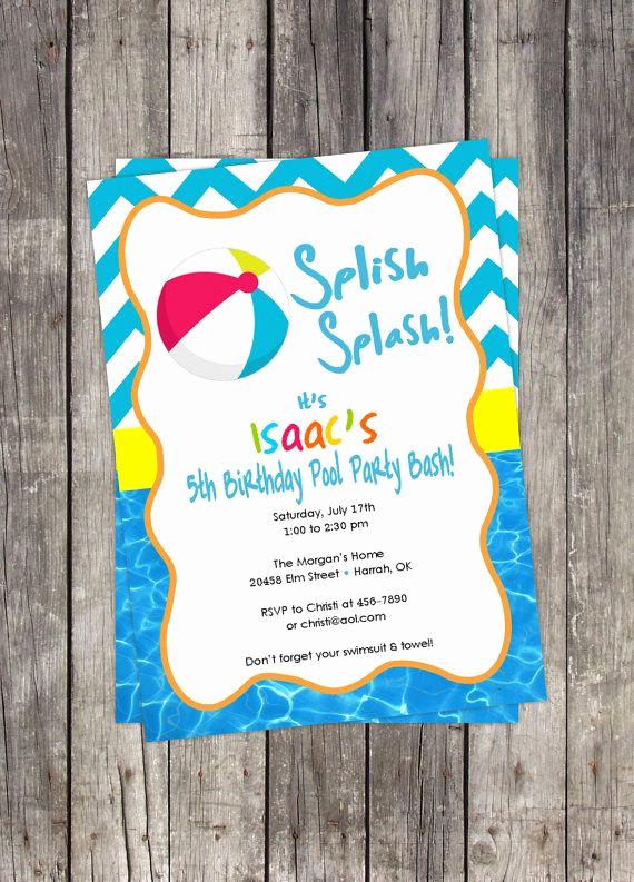 Beach Party Invitation Ideas Best Of Beach Ball Pool Party Invitation Diy Customized Birthday