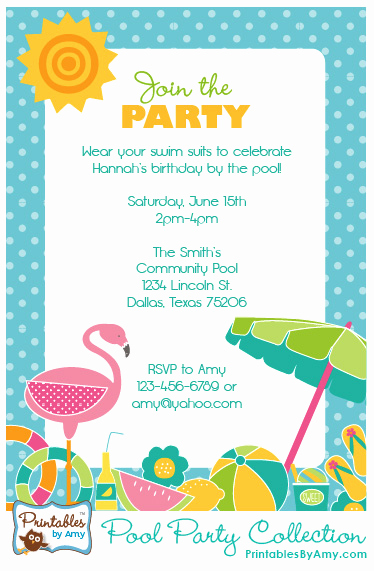 Beach Party Invitation Ideas Elegant Pool Party Collection Printables