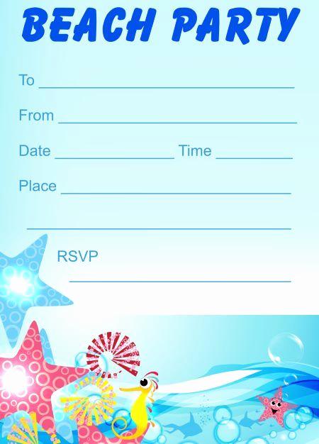 Beach Party Invitation Ideas Elegant Printable Beach Party Invitations In 2019