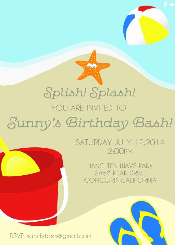 Beach Party Invitation Ideas Lovely Beach Birthday Party Invitation Summer Birthday Party