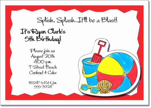 Beach Party Invitation Ideas Lovely Kids Beach Party Invitations Beach Invitations Pool