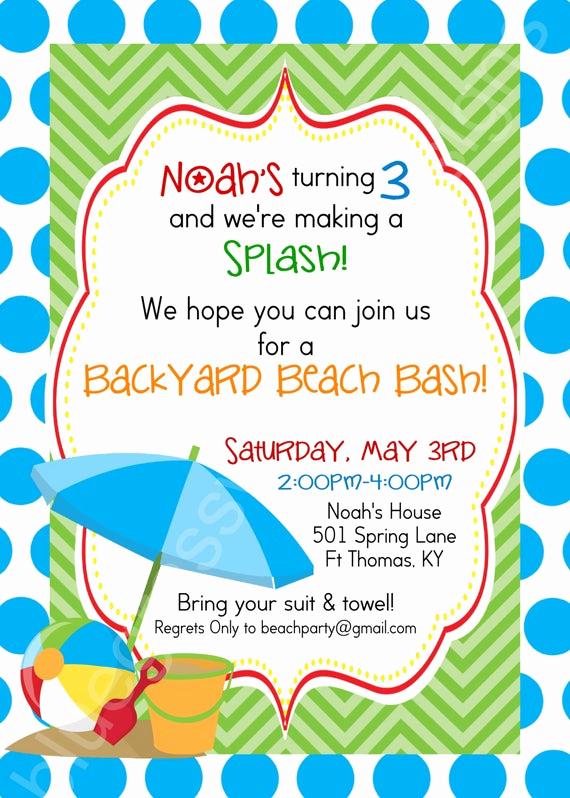 Beach Party Invitation Ideas New Birthday Beach Bash Let S Make A Splash Kid S Party