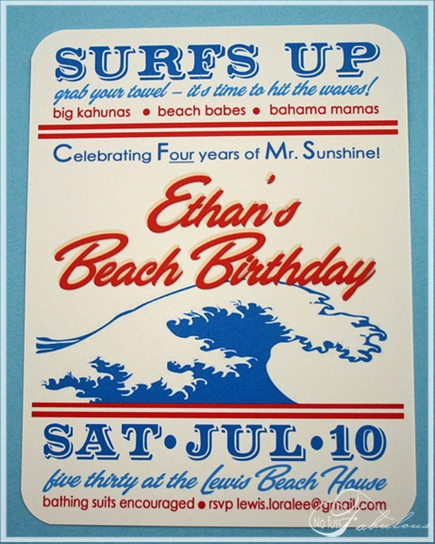 Beach Party Invitation Ideas New the Vintage Fern Cowabunga Vintage Beach Birthday Party
