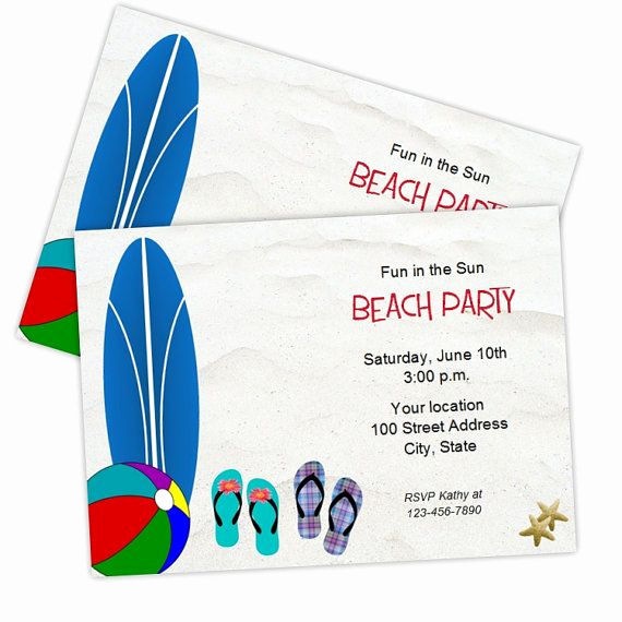 Beach Party Invitation Template Beautiful 9 Best Party Invitations Images On Pinterest
