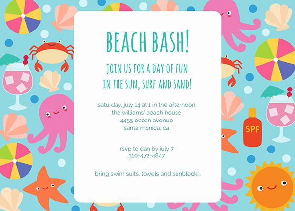 Beach Party Invitation Template Beautiful Beach Party Invitations