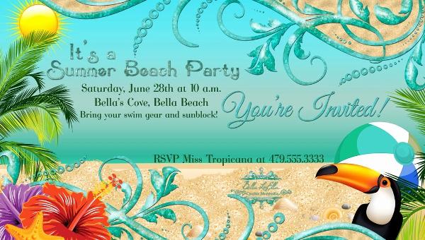Beach Party Invitation Template Best Of 21 Beach Party Invitation Designs Psd Vector Eps Jpg