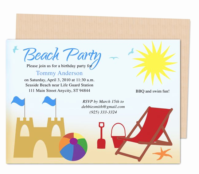 Beach Party Invitation Template Best Of 23 Best Kids Birthday Party Invitation Templates Images On
