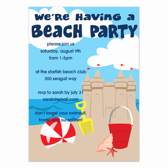 Beach Party Invitation Template Elegant Beach Party Invitations & Cards On Pingg
