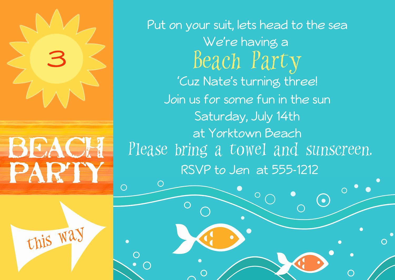 Beach Party Invitation Template Fresh Beach Party Invitations Templates