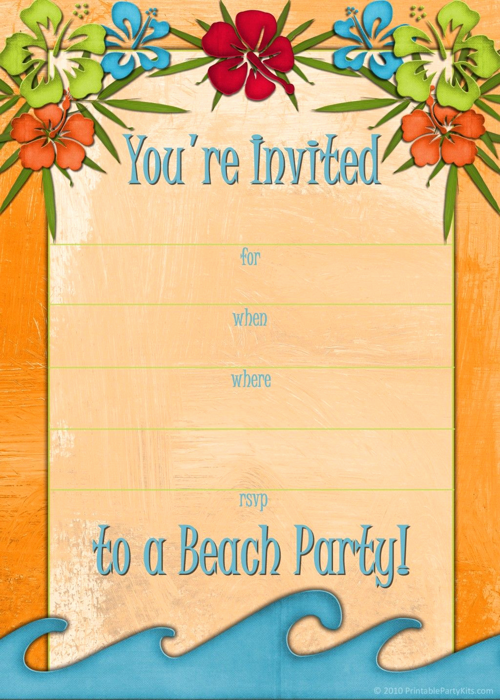 Beach Party Invitation Template Inspirational Free Printable Beach Party Luau and Bbq Invitations