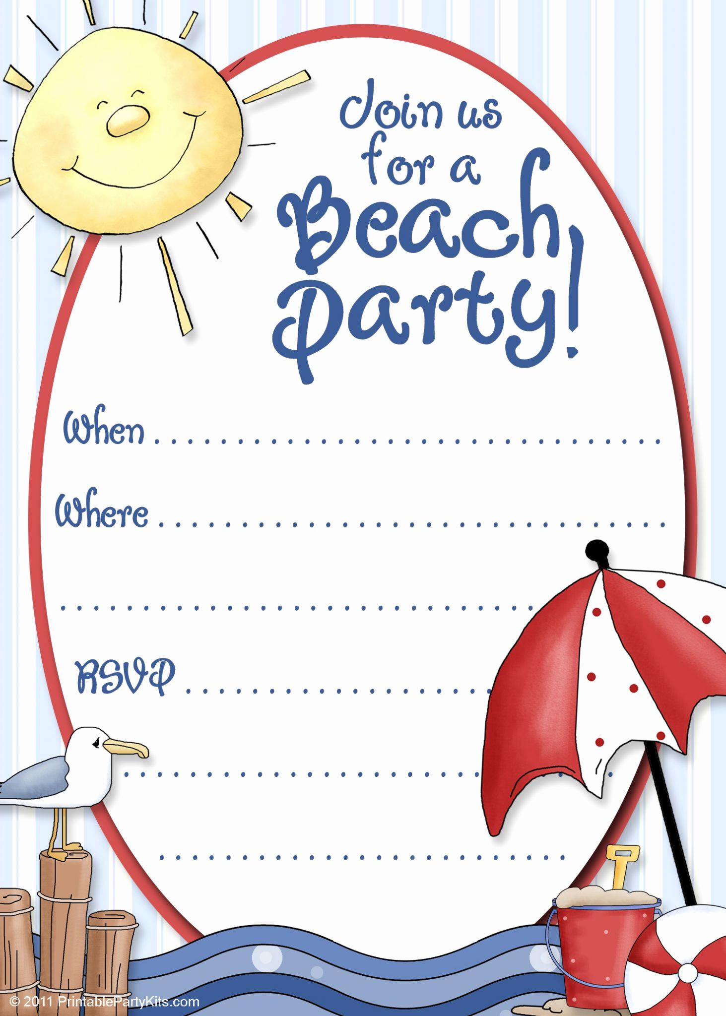 Beach Party Invitation Template Lovely Beach Party Invite Template Printable Party Kits