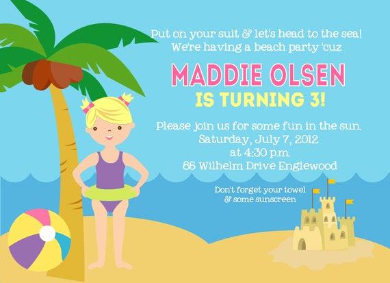 beach birthday invitation swimming