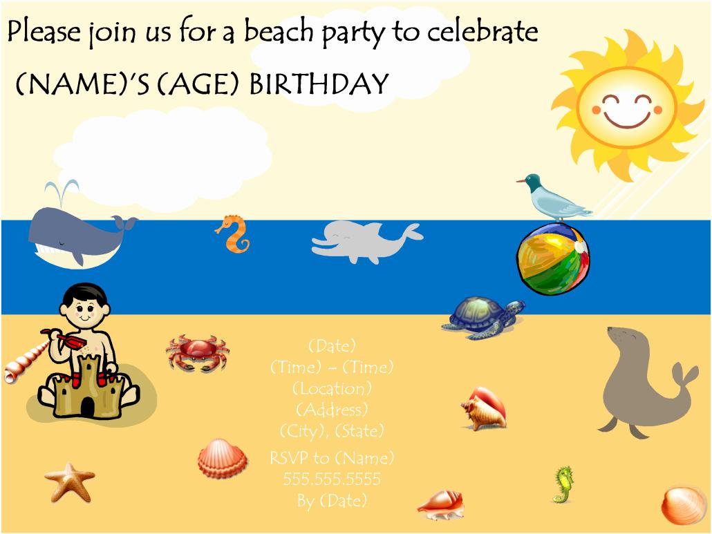Beach Party Invitation Template New Beach Birthday Party Invitation Template