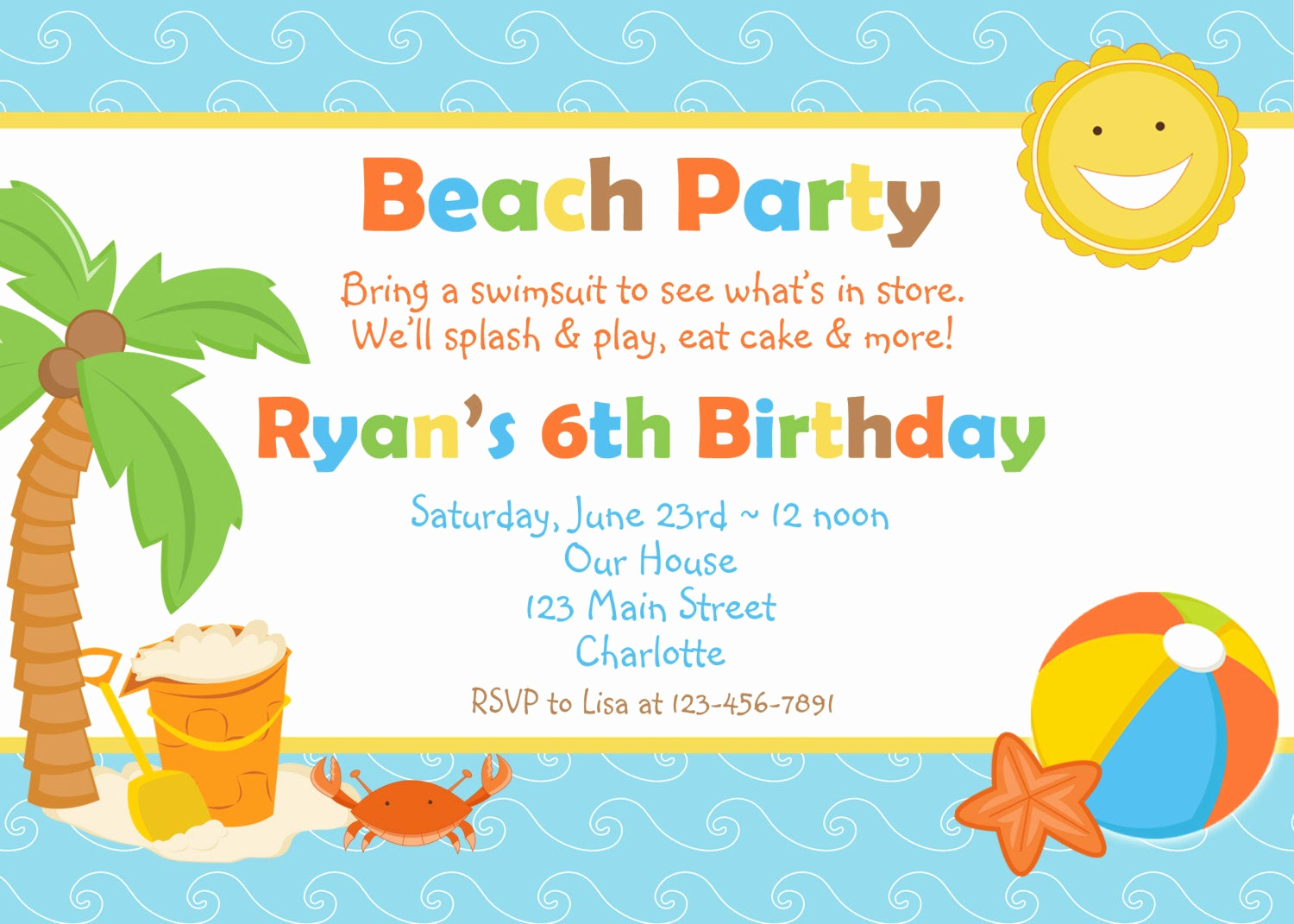 Beach Party Invitation Template New Beach Party Birthday Invitation Pool Party by