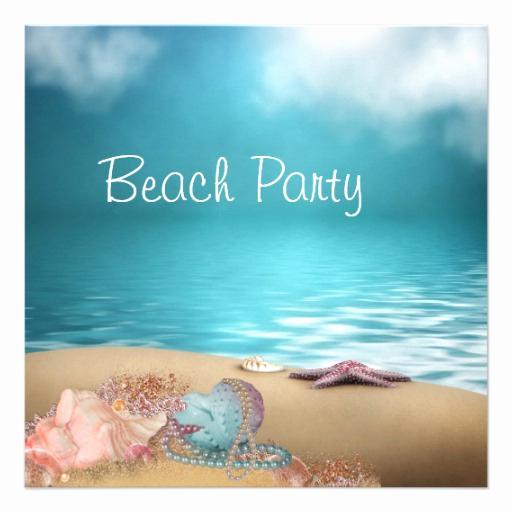 "Beach Party Invitation Template Unique Blue Water Seashells Sand Beach Party 5 25"" Square"