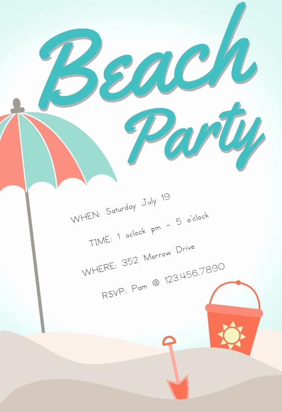 Beach Party Invitation Template Unique Sandcastle Pool Party Invitation Template Free