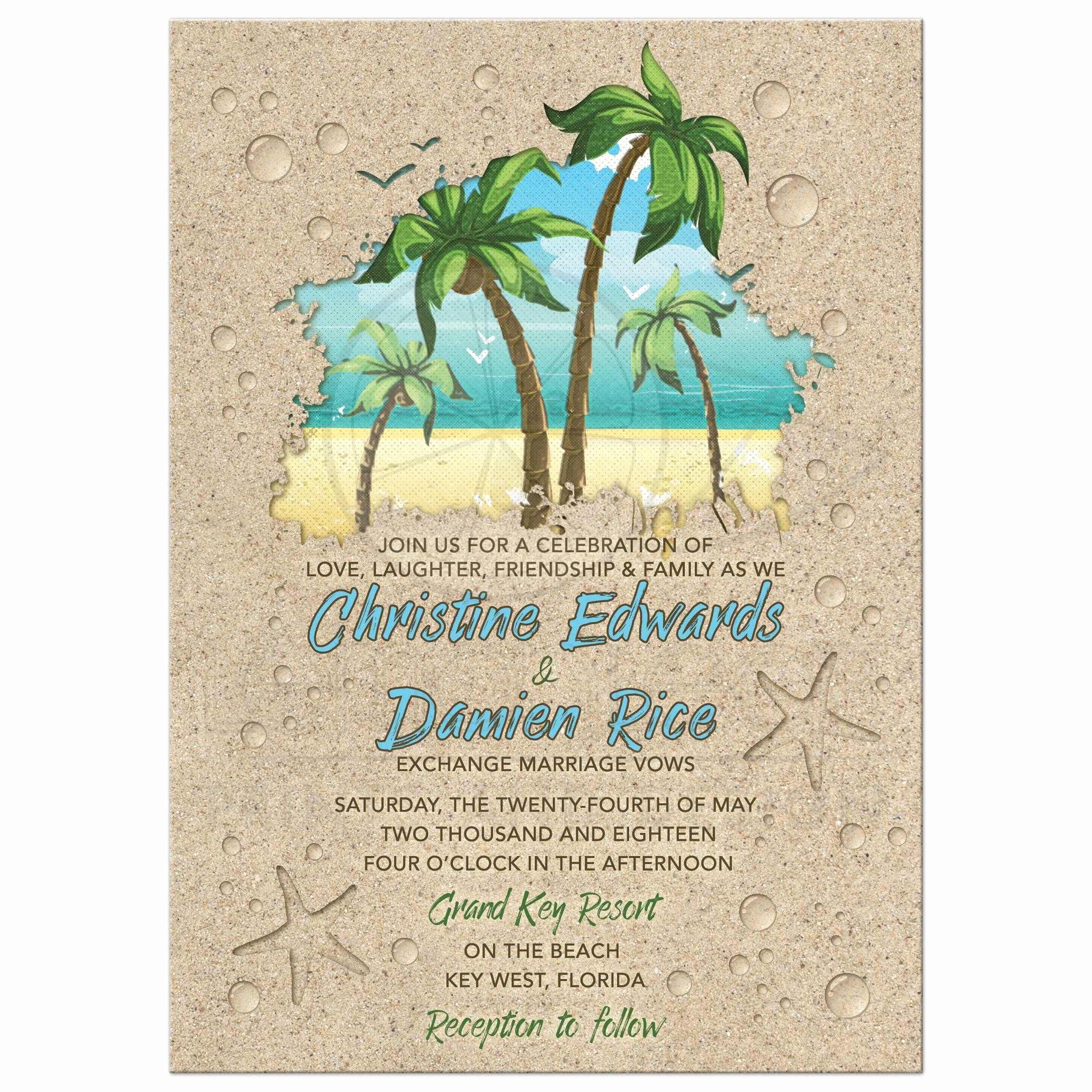 Beach Wedding Invitation Ideas Best Of Retro Palm Trees Beach Wedding Invitation