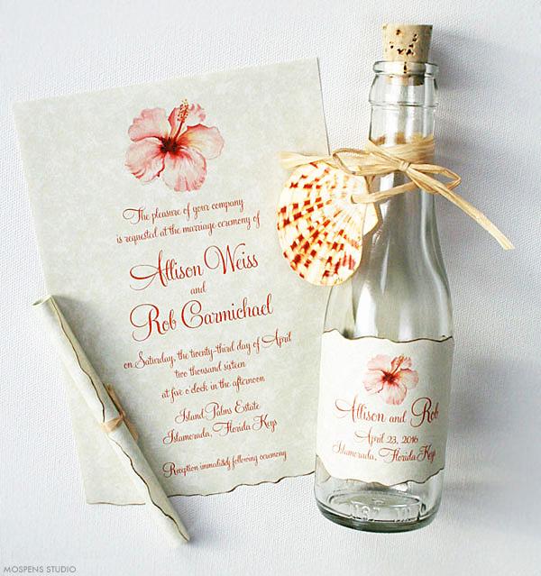 key west hibiscus bottle invitation