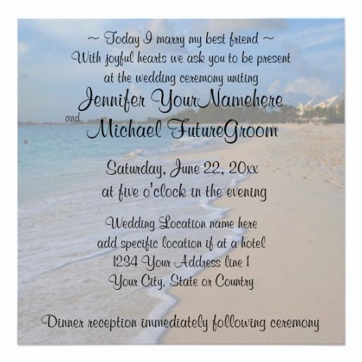 Beach Wedding Invitation Wording Awesome today I Marry My Best Friend Beach Wedding 13 Cm X 13 Cm