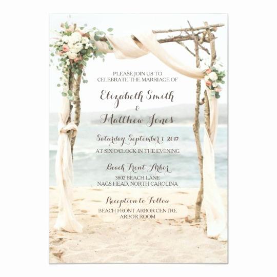 Beach Wedding Invitation Wording Elegant Beach Arbor Wedding Invitation