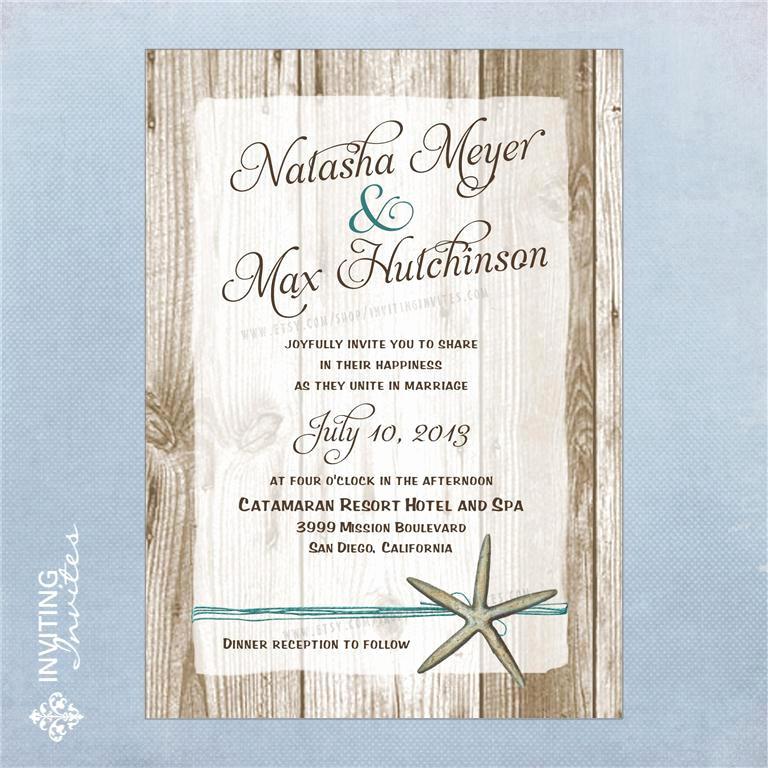 Beach Wedding Invitation Wording Luxury Starfish Wedding Invitation Destination Beach by
