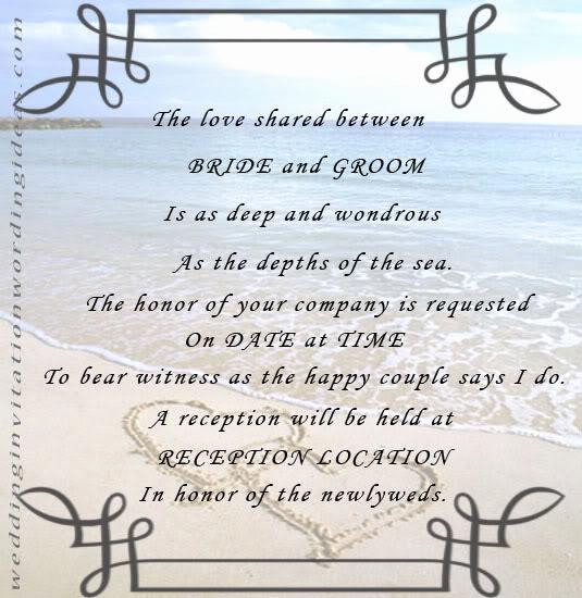 Beach Wedding Invitation Wording New Free Beach Wedding Invitation Wordings Samples