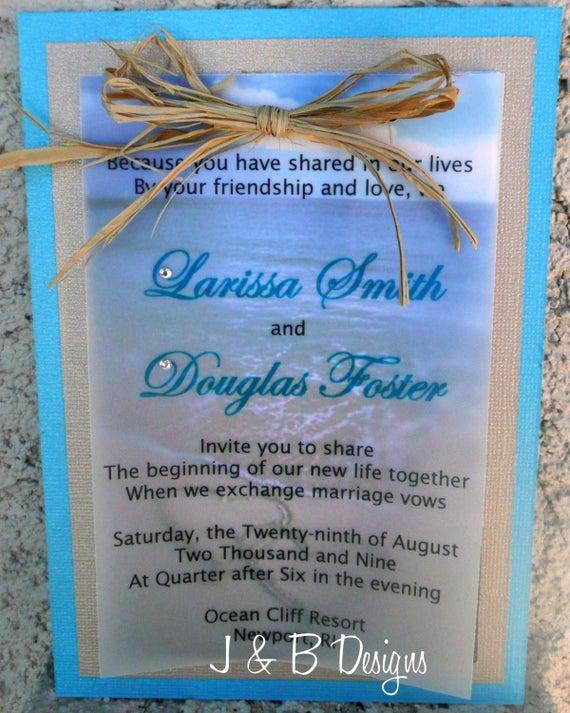 Beach Wedding Invitation Wording Unique Items Similar to Beach Wedding Invitation Sample On Etsy