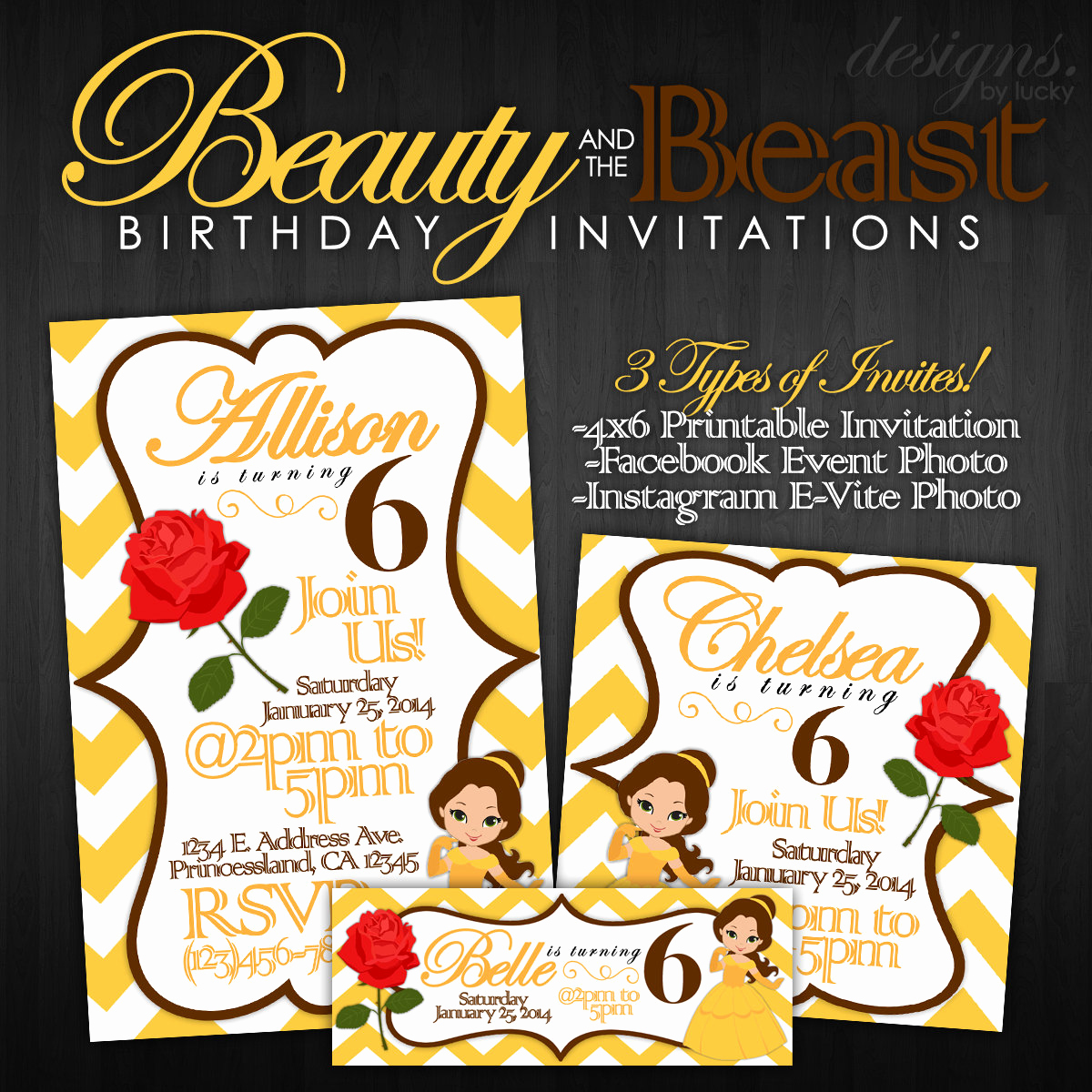 Beauty and the Beast Invitation Awesome Beauty and the Beast Birthday Invitations by Designsbylucky
