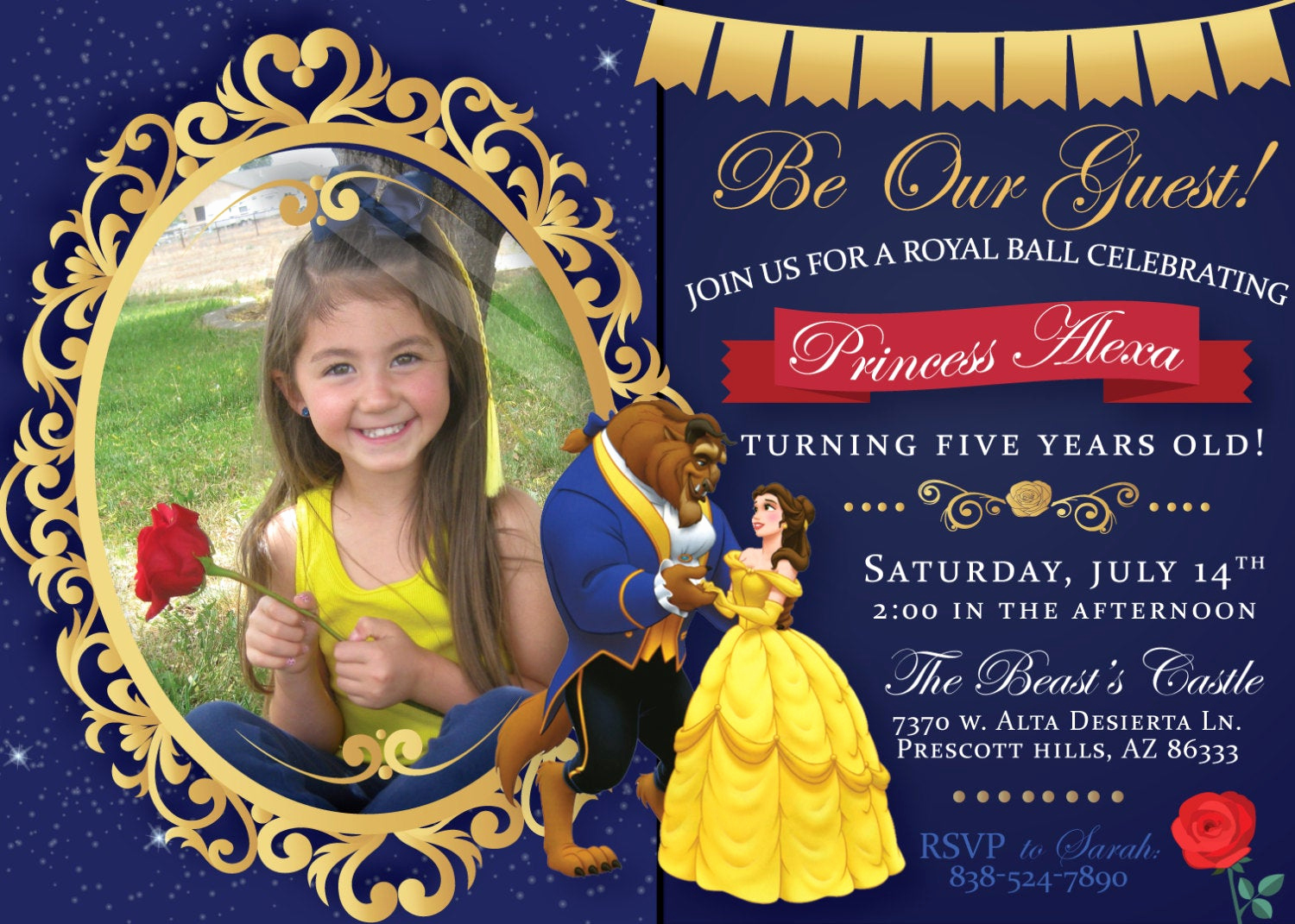Beauty and the Beast Invitation Awesome Beauty and the Beast Birthday Party Printable Invitation