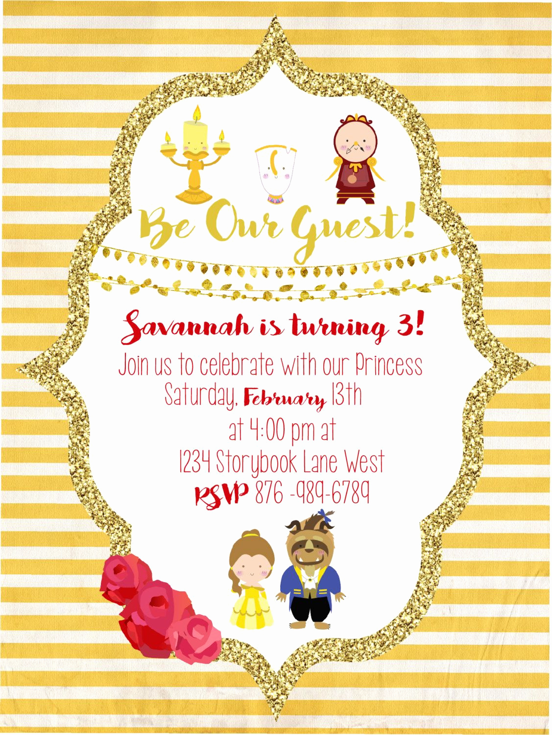 Beauty and the Beast Invitation Awesome Beauty and the Beast Party Invitation