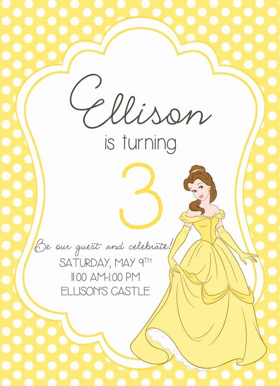 Beauty and the Beast Invitation Awesome Beauty and the Beast Princess Birthday Party Invitation