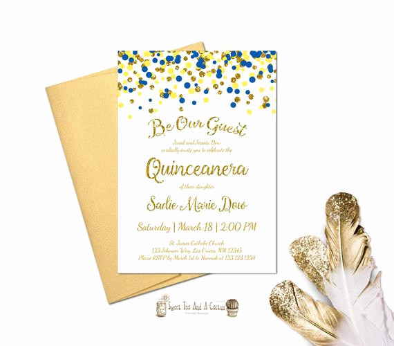 Beauty and the Beast Invitation Awesome Beauty and the Beast Quinceanera Invitation Blue Yellow Gold