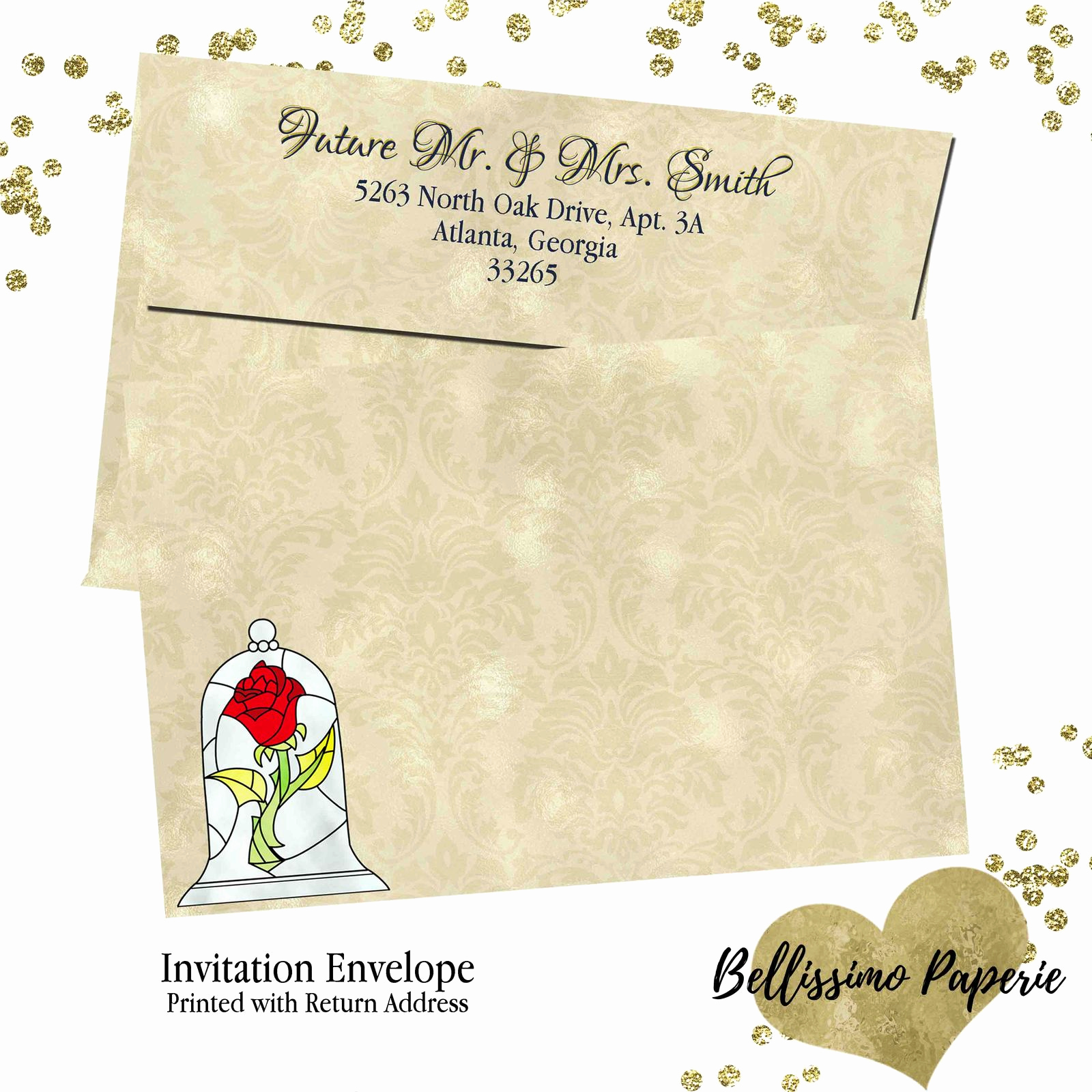Beauty and the Beast Invitation Awesome Beauty and the Beast Wedding Invitation Set Rsvp