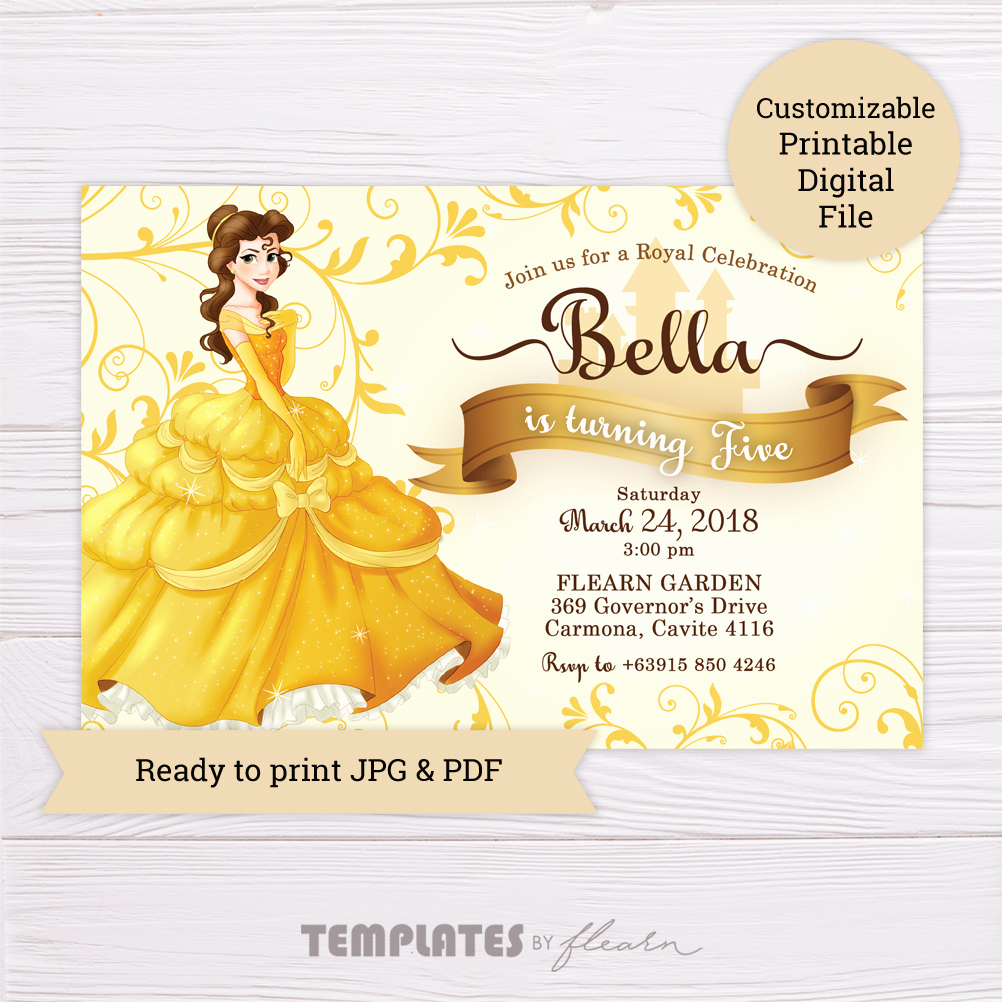 Beauty and the Beast Invitation Beautiful Beauty and the Beast Belle Invitation – Flearn Ph