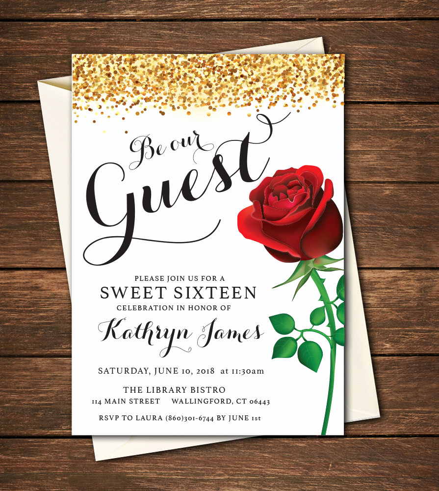 Beauty and the Beast Invitation Best Of Beauty and the Beast Invitation Beauty and the Beast Sweet