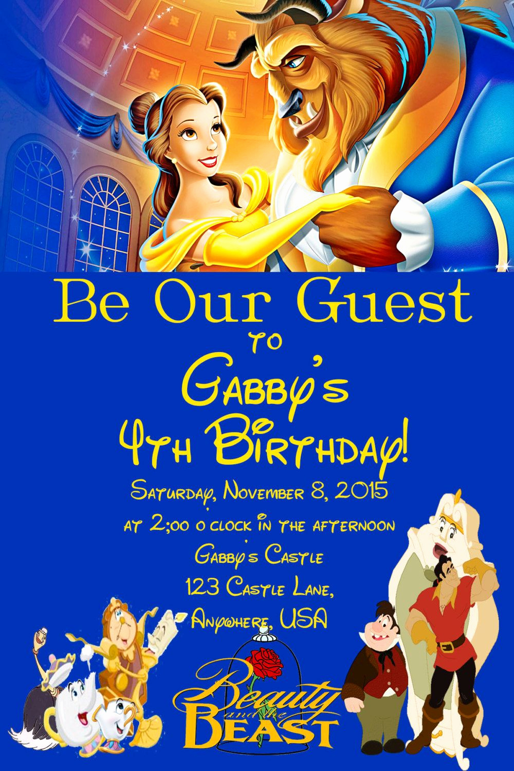 Beauty and the Beast Invitation Elegant Beauty and the Beast Birthday Invitation by