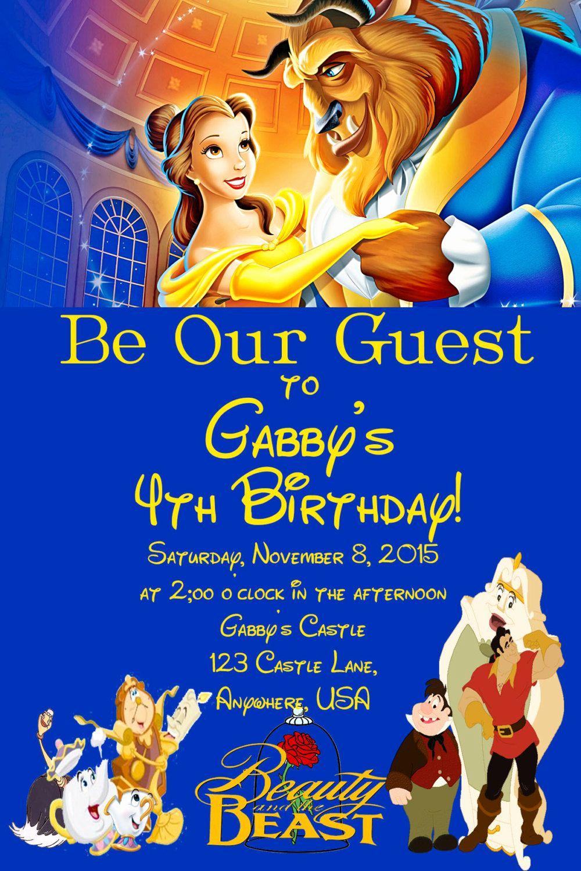 Beauty and the Beast Invitation Elegant Beauty and the Beast Birthday Invitation by