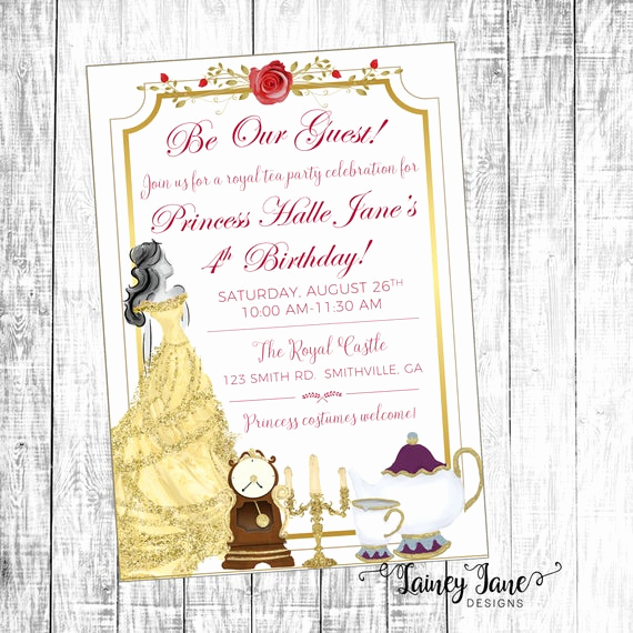 Beauty and the Beast Invitation Elegant Beauty and the Beast Invitation Belle Invitation Birthday