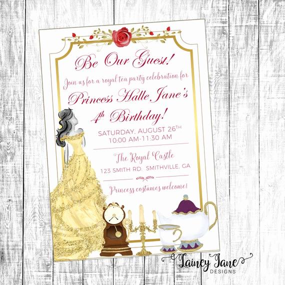 Beauty and the Beast Invitation Elegant Beauty and the Beast Invitation Belle Invitation Birthday
