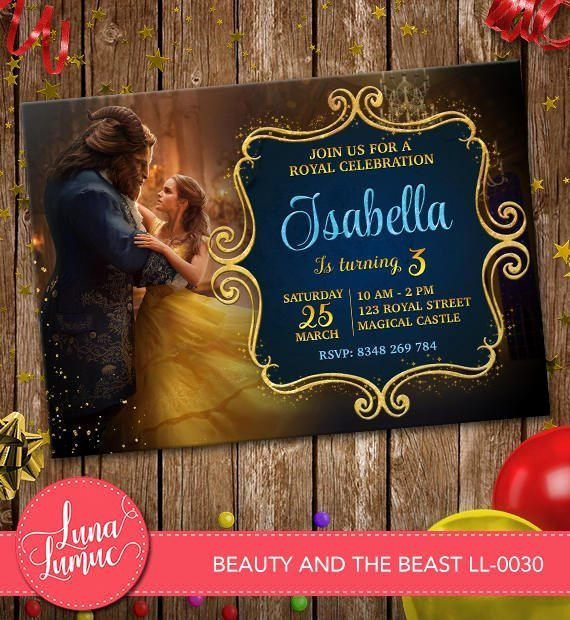 Beauty and the Beast Invitation Elegant Beauty and the Beast Invitation Belle Party Invite