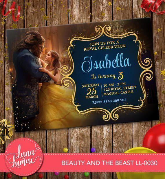 Beauty and the Beast Invitation Elegant Beauty and the Beast Invitation Belle Party Invite